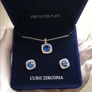 Blue Cubic Zirconia  pave square stud earring
